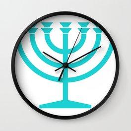 Hannukah Teal Menorah Chanukah Wall Clock