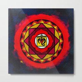 Indian Style Ohm Mandala of Vibrant Color Metal Print
