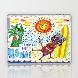 Mid Century Modern Hawaiian Tiki Toast blue border Laptop & iPad Skin