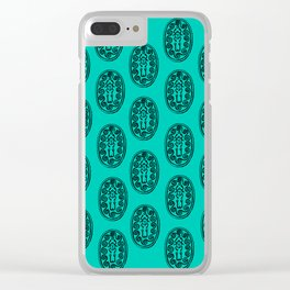 Ancient Egyptian Amulet Pattern Turquoise Blue Clear iPhone Case