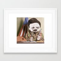 ron swanson Framed Art Prints featuring Ron Swanson by Erin Maala