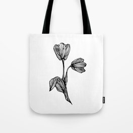 black and white flower drawing Tote Bag
