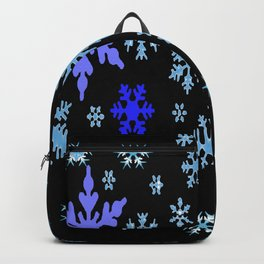 BLUE & PURPLE WINTER  SNOWFLAKES HOLIDAY ON BLACK Backpack