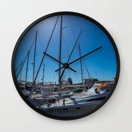 Yachts in the marina Wall Clock