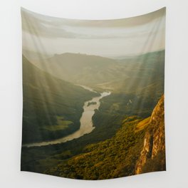 Birds Eyes View Of Mountain Valley River Beautiful Green Landscape IN The Jungle Wall Tapestry
