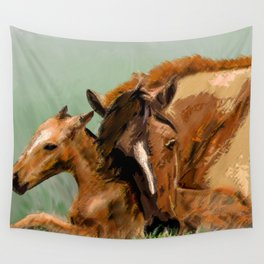 Horses - Mare and Foal Wall Tapestry