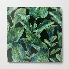 Blue Green Watercolor Tropical Leaves Metal Print