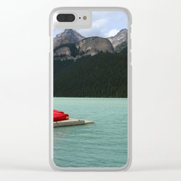 Lake Louise Red Canoes Clear iPhone Case