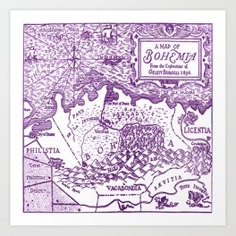Map of Bohemia (purple) Art Print