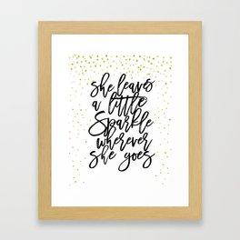 she leaves a little sparkle wherever she goes,nursery decor,kids gift,girly print,nursery girls Framed Art Print
