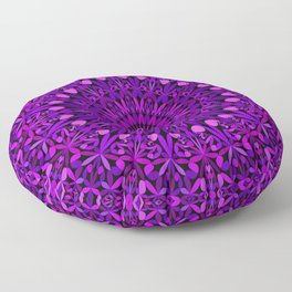 Purple Leaves Kaleidoscope Mandala Floor Pillow