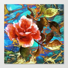 rose on abstract background Canvas Print