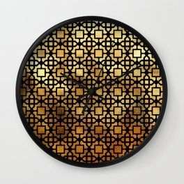 Luxurious Gold-Bronze Islamic Geometric Pattern Wall Clock