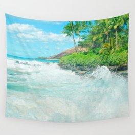 Aloha mai e Pā'ako Beach Mākena Maui Hawaii Wall Tapestry