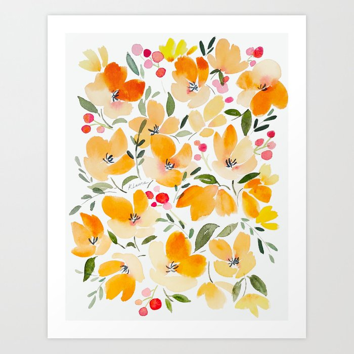 Yellow and Orange Floral Art Print