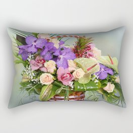 Bouquet with colorful flowers in basket Rectangular Pillow