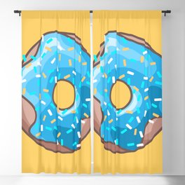 Blue Donut on Yellow Background Blackout Curtain