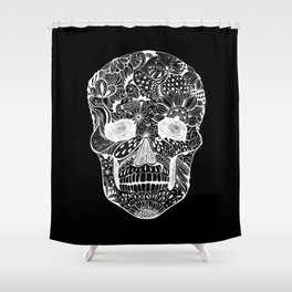 Human skull with hand- drawn flowers, butterflies, floral and geometrical patterns Shower Curtain