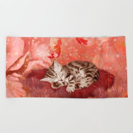 Cute little kitten Beach Towel