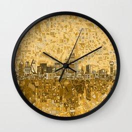 dallas city skyline Wall Clock
