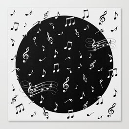 Music White and Black Canvas Print