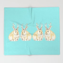 Watercolor Grumpy Jackalope Antler Bunny Throw Blanket