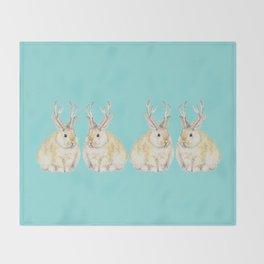 Watercolor Grumpy Jackalope Antler Bunny Throw Blanket