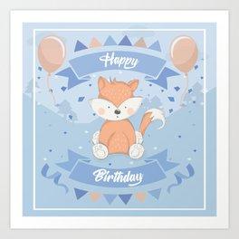 Happy Birthday Fox Art Print