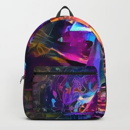 Psycodelic travel to the Moon Backpack