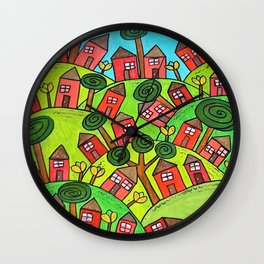 Ticky Tacky Red Row Houses on the Hill whimsical folk art landscape Wall Clock