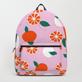 Fresh Orange Pattern on Rose Colored background  Backpack