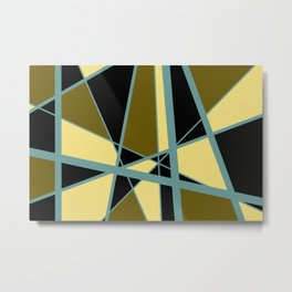 Triangles Mikado pattern yellow turquoise vintage color Metal Print