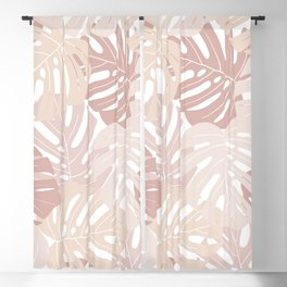 Pastel pink monstera deliciosa Blackout Curtain