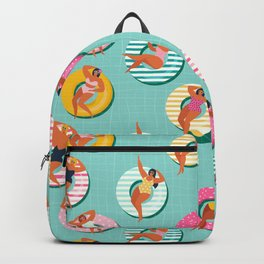 Summer gils on inflatable in swimming pool floats. Backpack