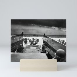 Into the Jaws of Death - D-day Vintage Photo by Robert F. Sargent Mini Art Print