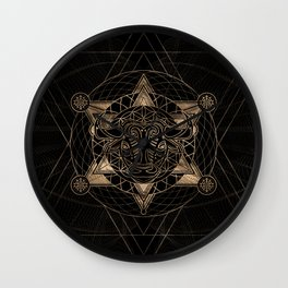 Bull in Sacred Geometry - Black and Gold Wall Clock