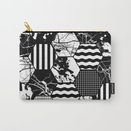 Hexual - Black and white, honeycomb, hexagon pattern, stripes, paint splats, grid and marble Carry-All Pouch