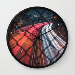 Streaks of Light - Expressway Long Exposure  Wall Clock