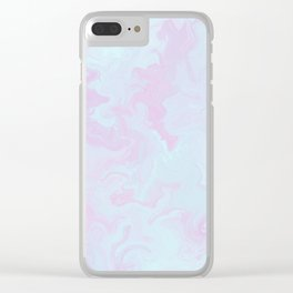 Elegant pink teal watercolor abstract marble Clear iPhone Case
