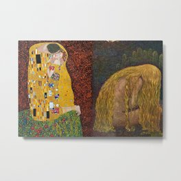 The Kiss & The Girl Who Lost Everything collage by Gustav Klimt and John Bauer portrait painting Metal Print