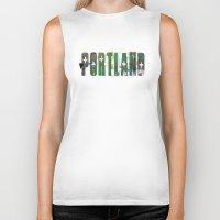 portland Biker Tanks featuring Portland by Tonya Doughty