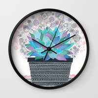 succulent Wall Clocks featuring succulent by Asja Boros