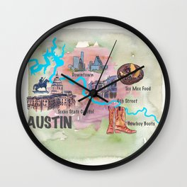 Austin Texas Favorite Map with touristic Top Ten Highlights in Colorful Retro Style Wall Clock