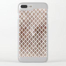 Coffee Trellis Pattern Clear iPhone Case