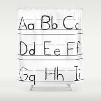 letters Shower Curtains featuring Letters by Bryan Brickley