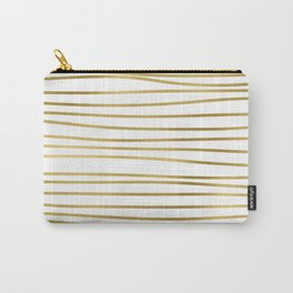 Small simply uneven luxury gold glitter stripes on clear white - horizontal pattern Carry-All Pouch