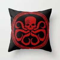 hydra Throw Pillows featuring Hail Hydra! by livinginamovie