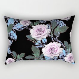 PINK & BLUE ROSE GARDEN BLACK ART DRAWING Rectangular Pillow