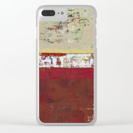 Buffalo Indian Red Burgundy Modern Abstract Art Clear iPhone Case