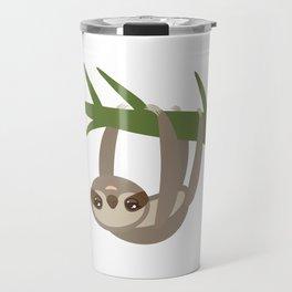 Three-toed sloth on green branch on white background Travel Mug